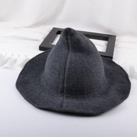 Along theSheep Wool Cap Knitting Fisherman Hat Female Fashion Witch Pointed Basin Bucket Hat Accessories Dark Grey