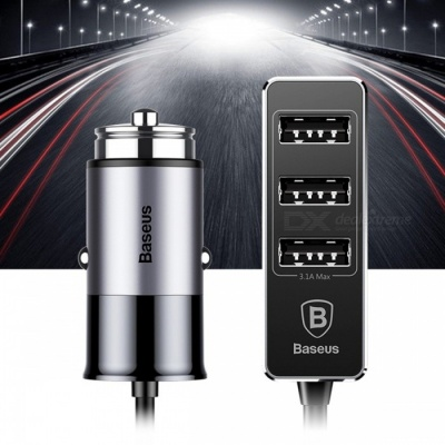 Baseus 5.5A 4-Port USB Car Charger, Multiple Expander Car-charger Adapter, Fast Charge Mobile Phone Charger Grey/Universal