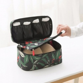 Floral Pattern Waterproof Underwear Bra Storage Bag Portable Large Capacity Travel Organizer Pouch Socks Towel Container Army Green
