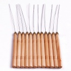 12Pcs Hair Extension Hook Pulling Tool Needle Threader Micro Rings Link Beads Loop Wooden Handle Iron Wire