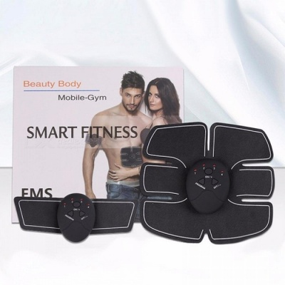 One Set Wireless Abdominal Muscle Trainer Electric Pulse Treatment Massager Health Care Absorb Fat Fitness Shock Sticker Black