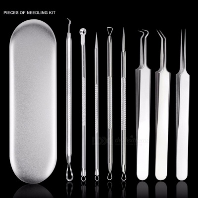 8pcs Acne Blackhead Removal Needles Pimple Spot Comedone Extractor Beauty Face Clean Care Tools Silver