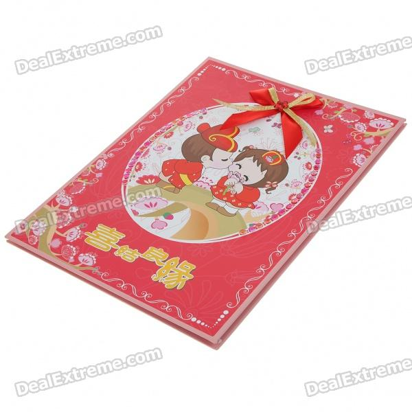 Chinese Style Happy Wedding Guest Sign In Book - Red