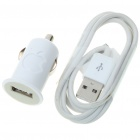 Car Charging Adapter + USB Cable Set for iPhone 3G/3GS/4/iPod - White (12V)