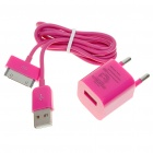 Mini USB Power Adapter with USB Data + Charging Cable for iPhone 3GS/4 (100~240V)