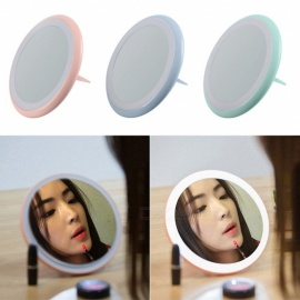 LED Lighted Makeup Mirror, Ultra-thin Foldable Swivel Ring Cordless Portable Mirror With Light, Finger Ring Stand Sky Blue/Other/>8