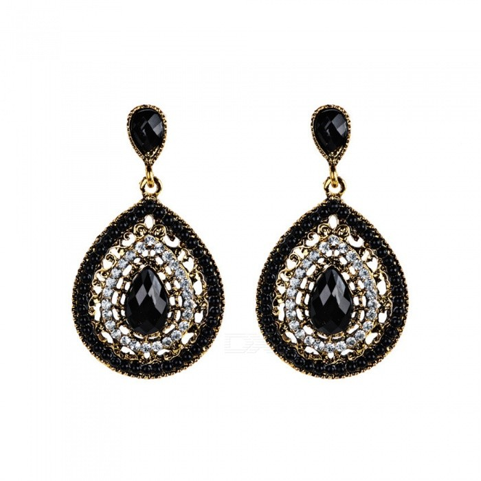 XSUNI Bohemia Earrings Filled with Crystal and Small Beads - Black
