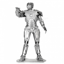 XMD DIY 3D Metal Model Kits Puzzle Iron Man Assembled Educational Toy - Silver