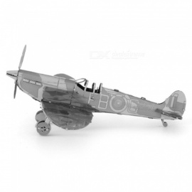 XMD DIY 3D Metal Model Kits Puzzle Spitfire Fighter Assembled Educational Toy - Silver