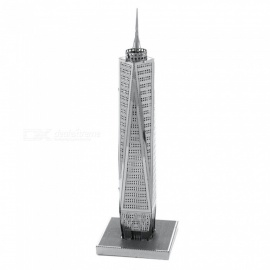 XMD DIY 3D Metal Model Kits Puzzle World Trade Center Assembled Educational Toy - Silver