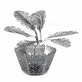 XMD DIY 3D Metal Model Kits Puzzle Sago Palm Tree Assembled Educational Toy - Silver