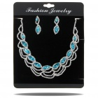 Elegant Crystal Diamond Necklace + Earrings Jewelry Set - Silver + Blue