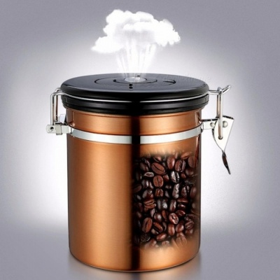 1500ml Coffee Beans Stainless Steel Coffee Tea Canister Sealed Jar With Exhaust Valve Keep Fresh Gold