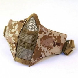 New Tactical Mesh Mask Airsoft mask Shooting Games Mask Camo Half Face Protective Lower Mask Adult Breathable Beige