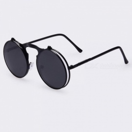 Sunglasses Round Designer Steampunk Metal Women Coating Sunglasses Men Retro Circle Sun Glasses       AO3black