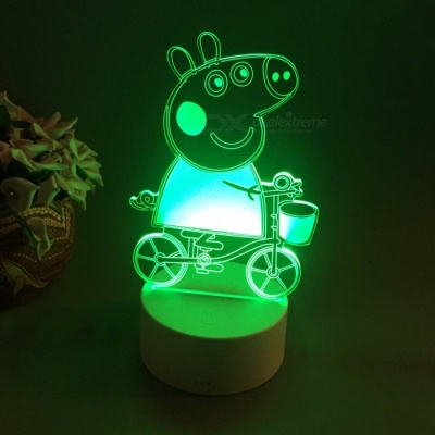 Peppa Pig 3D Table Lamp LED Colorful Nightlight Kids Birthday Gift USB Sleep Lighting Home Decoration With 7 Colors Changeable/White/0-5W