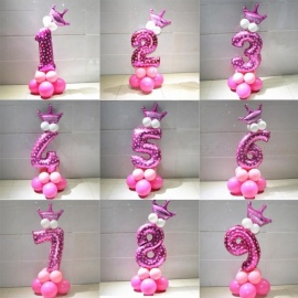 1 Set Blue Pink Foil Number Balloon Thicken Latex Air Ballons with Crown Anniversary Baby Shower Kids Birthday Party Decoration 9/Pink