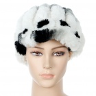 Winter Warm Soft Plush Knit Visor Peaked Cap Hat - Black + White + Grey