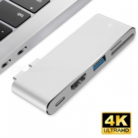 måles USB-hub med HDMI-utgang, pass-through ladeport, 4K HDMI, SD micro SD kortleser for ny Macbook Pro - sølv