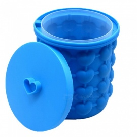 Heart Shape Large Silicone Ice Bucket Ice Storage Case - Blue