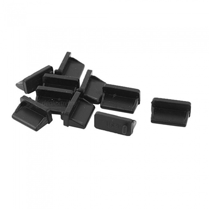 Silicone USB Port Cover Anti Dust Protector for Female End 20 Pcs - Black