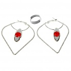 Stylish Jewelry Set Earrings + Opening Ring - Color Assorted