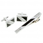 Fashion Crystal Metal Apparel Button Cuff Links + Tie Clip Pin Set - Black + Silver (Set of 3)