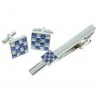 Fashion Crystal Metal Apparel Button Cuff Links + Tie Clip Pin Set - Blue + Silver (Set of 3)