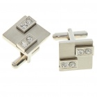 Fashion Crystal + Metal Apparel Button Cuff Links - Silver (Pair)