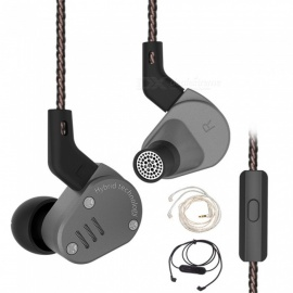 KZ ZSA 1BA with 1 Dynamic Hybrid In Ear Earphone HIFI Headphone With Silver Cable and Bluetooth Cable - Gray (With Microphone)