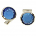 Fashion Crystal + Metal Apparel Button Cuff Links - Blue + Silver (Pair)