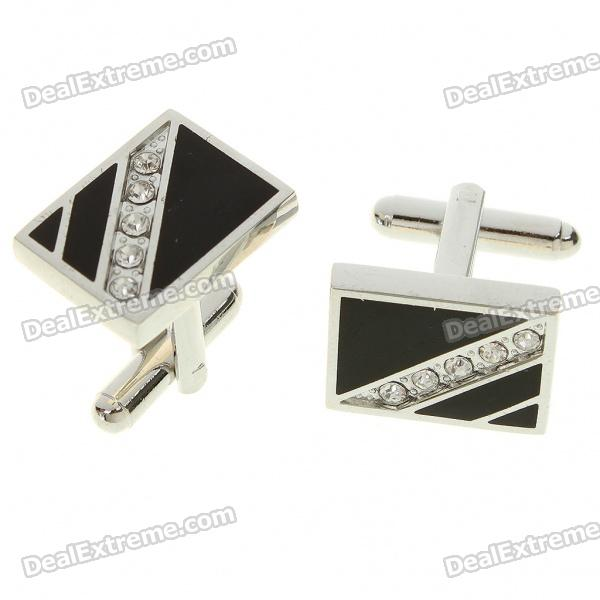 Fashion Crystal + Metal Apparel Button Cuff Links - Black + Silver (Pair)