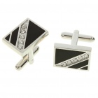 Fashion Imitated Diamond + Metal Apparel Button Cuff Links - Black + Silver (Pair)