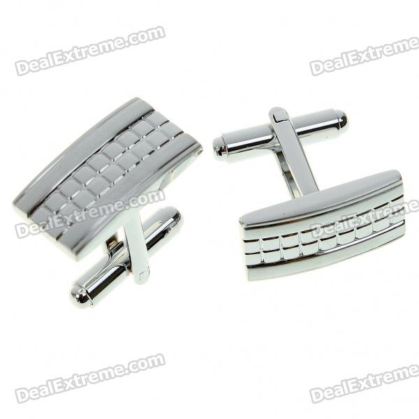 Fashion Metal Apparel Button Cuff Links - Silver (Pair)