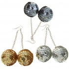 Shining Ball Style Long Earrings - Color Assorted (3-Pair Pack)