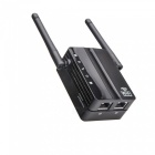 ESAMACT Dual Antenna Dual Network Wifi Signal Amplifier 300M Repeater Wireless Network Router - Black (EU Plug)