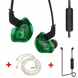 KZ ZSR Balanced Armature With Dynamic In-ear Earphones HiFi Headphones With Silver Cable and Bluetooth Cable - Green (With Mic)