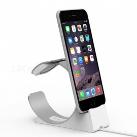 JEDX Stand for Apple Watch, Charging Station Dock Accessories Phone Holder Aluminum for IPHONE 7 6s 6 Plus 5s SE - Silver