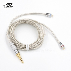 KZ 0.75mm Braided Silver Plated Wire Upgrade Earphone Cable - B Style Pin