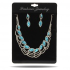 Elegant Stainless Steel Rhinestone Necklace + Earrings Jewelry Set (Golden + Blue)