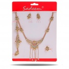 Elegant Metal Rhinestone Necklace + Earrings + Ring + Bracelet Jewelry Set (Golden)