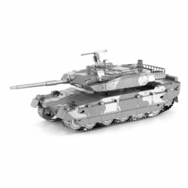 DIY 3D Metal Model Kits Puzzle Japanese Type 10 Tank Assembled Educational Toy - Silver