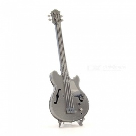 DIY 3D Metal Model Kits Puzzle Bass Bass Guitar Assembled Educational Toy - Silver