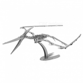 DIY 3D metalen model kits puzzel pterodactyl skelet geassembleerd educatief speelgoed - zilver