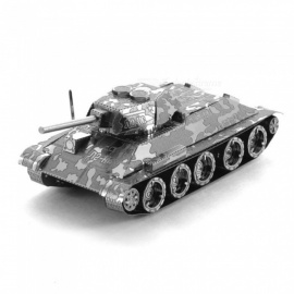 DIY 3D Metal Model Kits Puzzle T-34 Tank Assembled Educational Toy - Silver