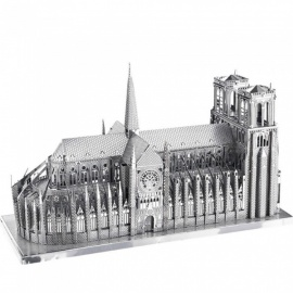 DIY 3D Metal Model Kits Puzzle Notre Dame Cathedral Assembled Educational Toy - Silver