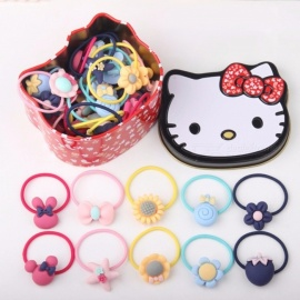 Korean Lovely Cartoon Hairband Hair Ring Tie  For Kids Baby Girls, 40pieces/box Plum/Size fits all/Rubber String