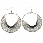 Beautiful Alloy Thread Circle Style Diamond Earrings - Black + Silver (5-Pair Pack)