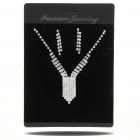 Stylish Metal + CrystalNecklace + Earrings Jewelry Set (Silver)