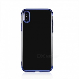 Transparent Slim Electroplate Plating TPU Case for IPHONE X - Blue